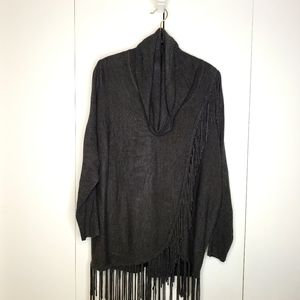 NY Collection Fringed Cowl Neck …